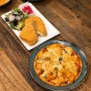 Chicken Pizza ($18.50++), Bulgogi Beef Panini ($17.50++)