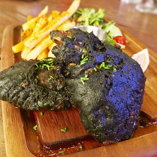 Squid Ink Fish & Chips ($28)