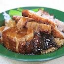Crackling roasted pork, char siew pork, & roast duck w/rice.