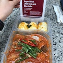 Super Shiok Chilli Crab and Blue Hake with salted egg coated wholemeal mantou [$16.95]