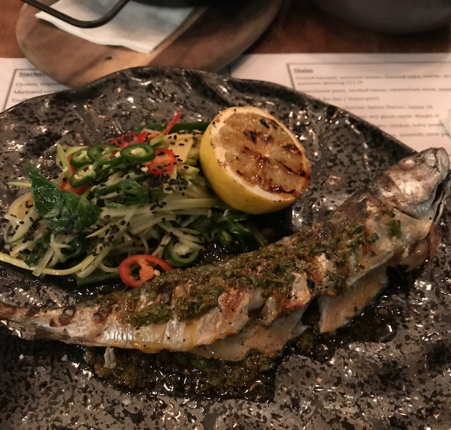 Grilled Mackerel with Thai salad [$28]