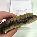 Traditional green tea pancake with red bean filling [$1.60]