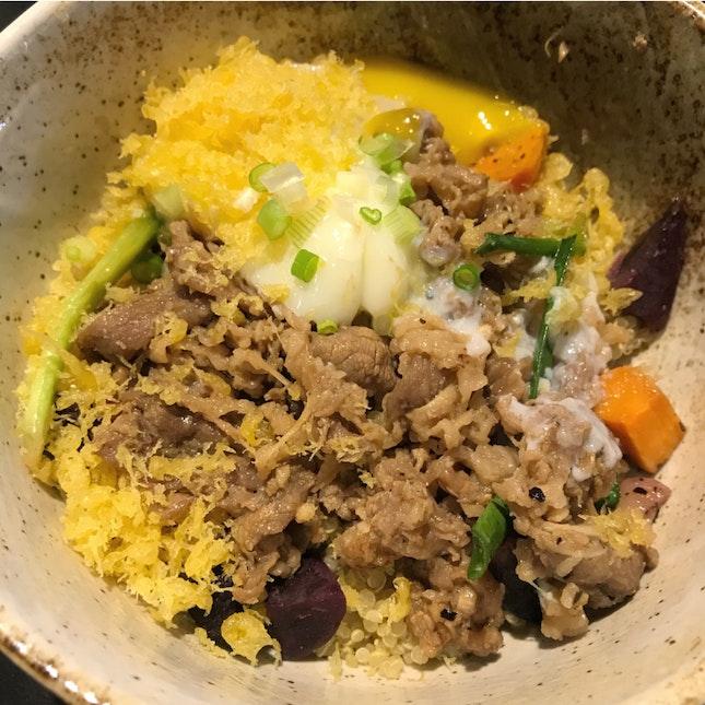 Ushi - Truffle karubi Beef, roasted sweet potatoes, onsen egg, chives [$16]