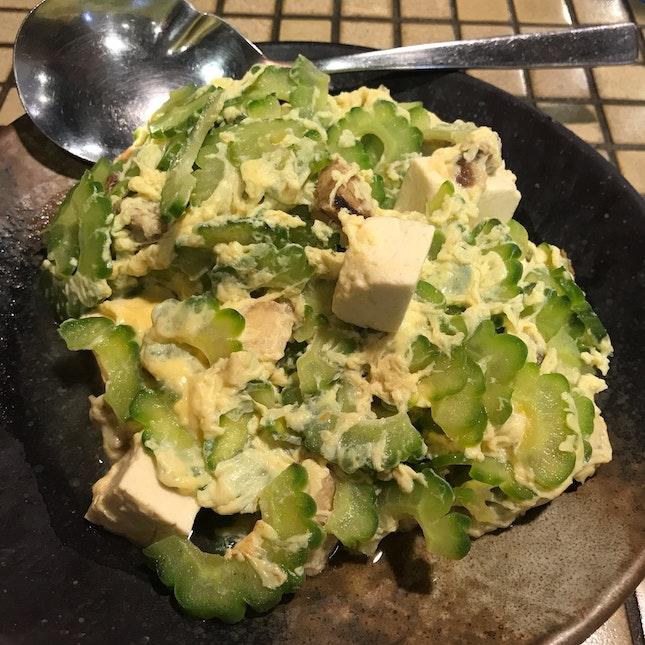 Stir fried bittergourd with pork with Okinawa beancurd & egg [$9.50]