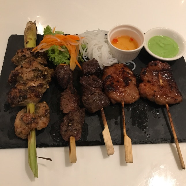 Charcoal Grilled Meats - Lemongrass Chicken [$4.80/each], Marbled Beef Cubes [$5.80/each], Moo Ping (Thai sweet pork) [$2.80/each]