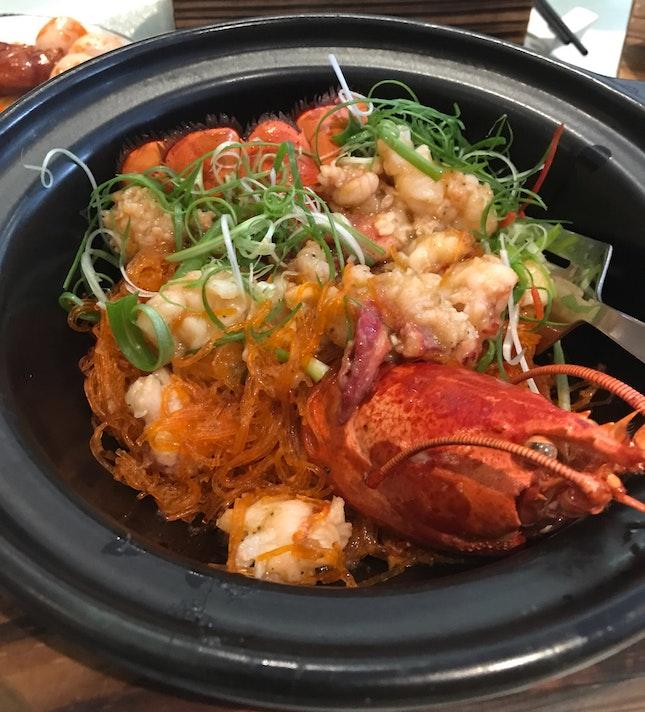 Lobster Vermicelli with Black Truffle Har Mi XO [$88]