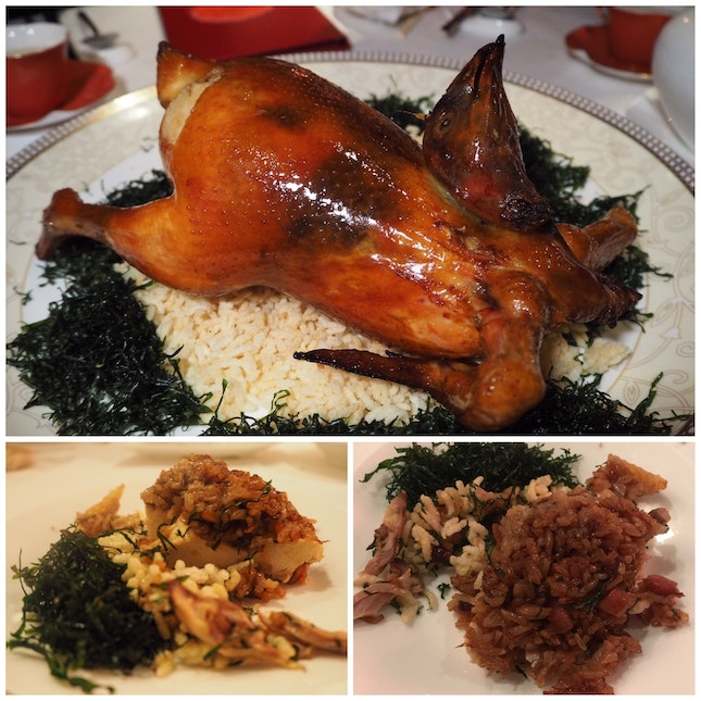 Deep-fried whole boneless chicken filled with fried glutinous rice (whole) | one-day advance order required [$98]