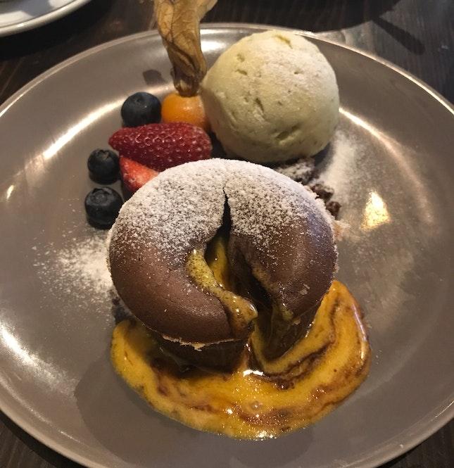 Chocolate Salted Egg Lava Cake [$12]