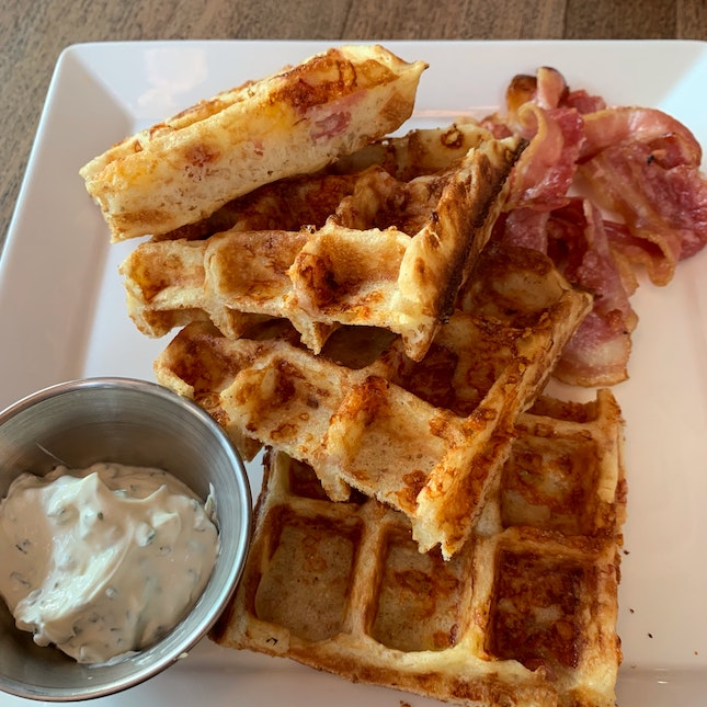 Still my favorite and I'll always come back for more! - Cheddar Cheese Bacon Waffles [$20]