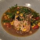 Oven Baked Seawater Barramundi - Roasted Corn Dashi, Kale, Roasted Cherry Tomatoes [$28]