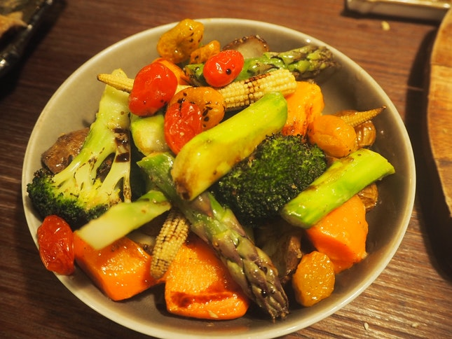 Roasted Vegetables - Seasonal Root Vegetables glazed with Aged Balsamic Vinegar [$14]