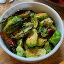 Brussel Sprouts with bacon & maple [$14]
