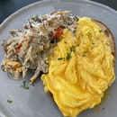 Creamy Mushrooms on Toasted Sourdough [$14] + Scrambled Eggs [$3]