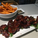 Cajun Sweet Potato Fries and Spicy Sticky Wings