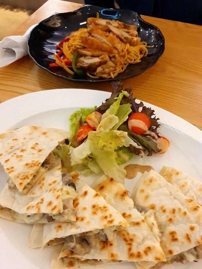 Chicken Pasta, Chicken & Mushroom Quesadilla
