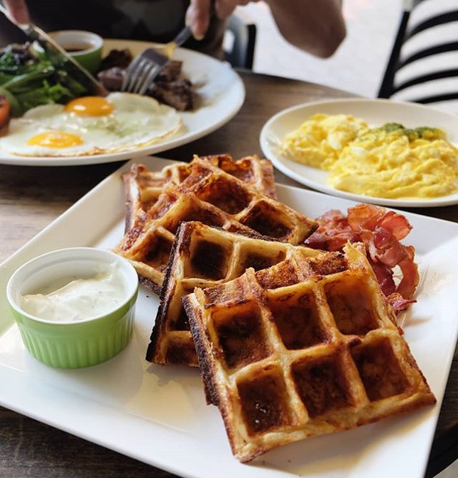 Cheddar Cheese Bacon Waffles