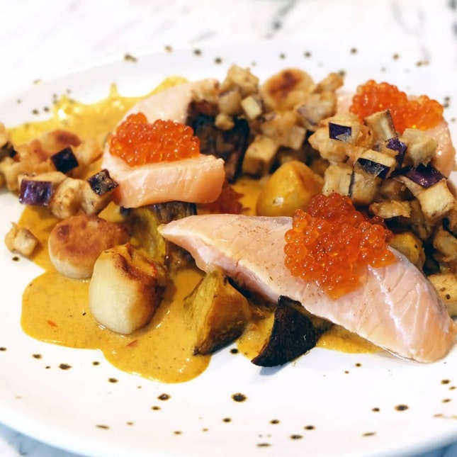 Salmon Mi-cuit, Gnocchi, Butternut Curry  ($19)