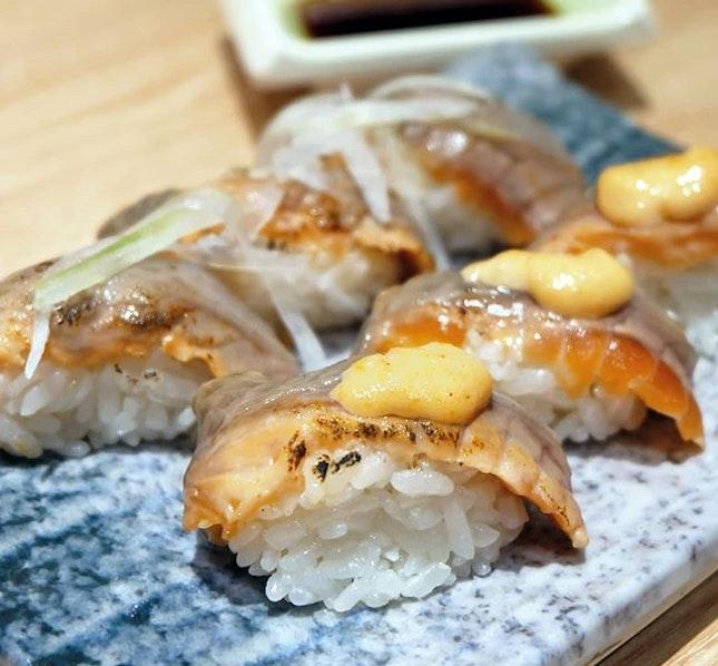 Roasted Salmon & Skin Soya Sauce with Cod Fish Cavier   Salmon & Skin Soya Sauce