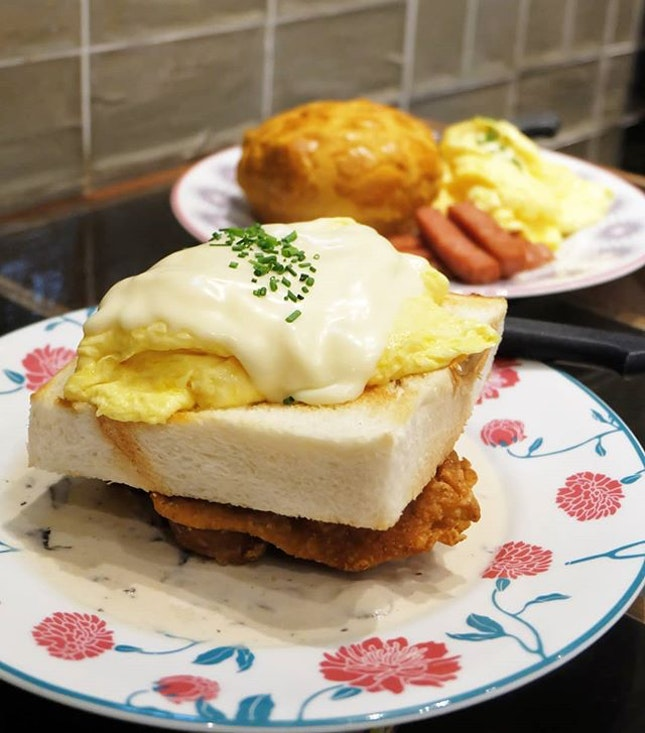 Scrambled Eggs with Toast, Cheese and Chicken Chop