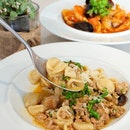 Orecchiette with fresh homemade pork sausage, mushroom, broccoli and shredded Parmesan