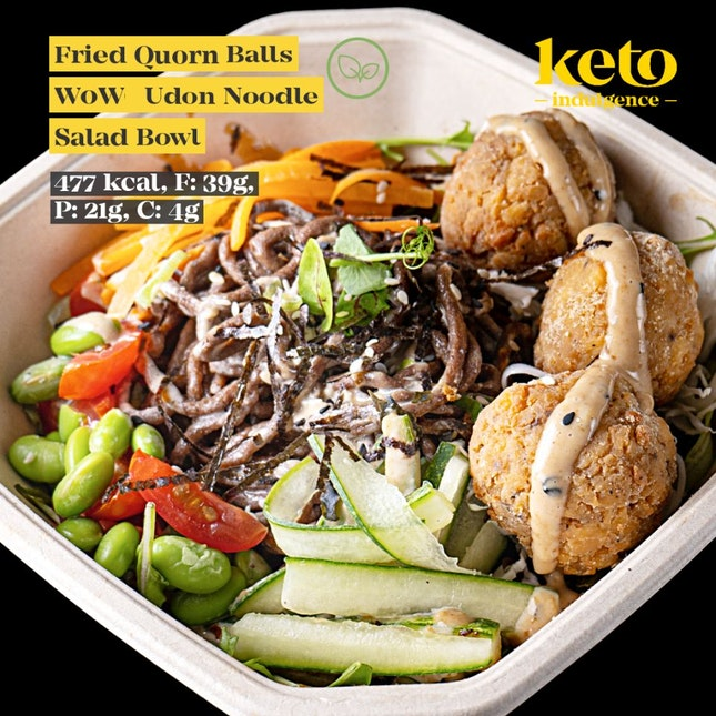 Fried Quorn Balls W0W Noodle Salad Bowl W/ Roast Sesame Miso Sauce