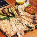 Trancio Di Pesce Spada  Grilled swordfish marinated in olive oil and oregano served with seasonal mixed grilled vegetables  My first time in savouring swordfish and the pearly white meat is pleasantly firm and chewy.