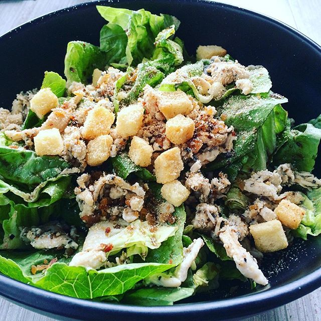 Caesar Salad  Fresh baby romaine lettuce, bacon bits, croutons and parmesan cheese  After all the grilled and fried food the past week with the endless indulgence of meat, its time to focus on my greens to balance my diet.