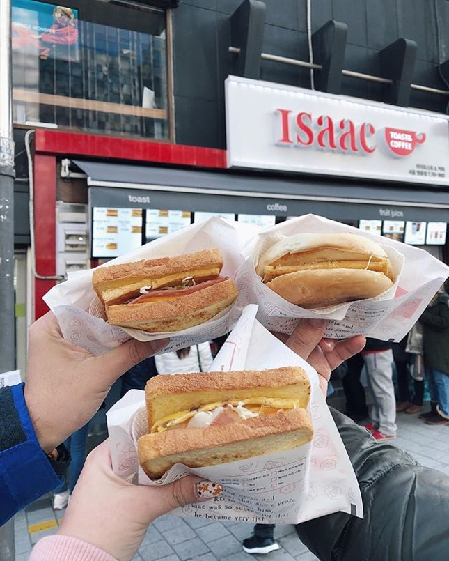 Tried the Isaac toast in Myeongdong and it was really yummy but I don't think I'd go out of my way to find it if It wasn't nearby.