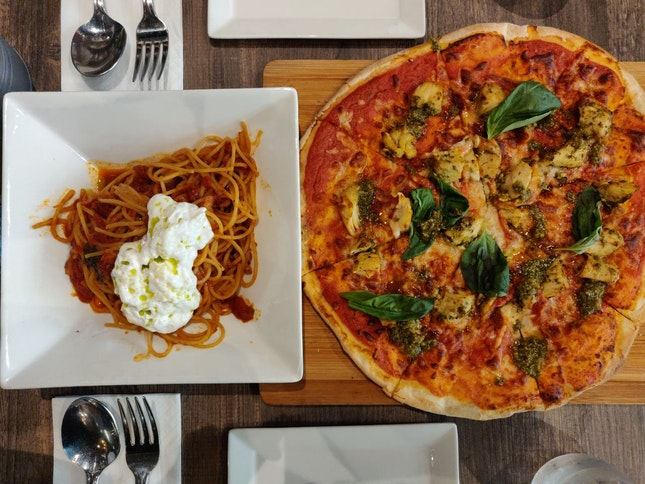 Pesto Chicken Pizza [$24] & Spaghetti Amatriciana With Burrata [$22] (Burpple 1 For 1)