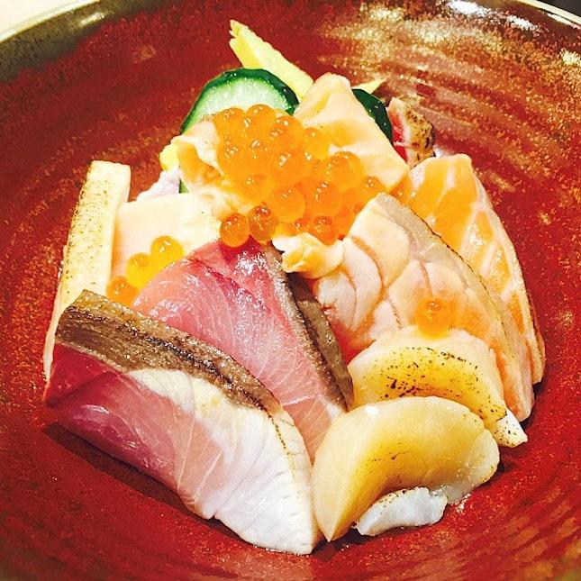 aburi kaisen chirashi don ($26.90) with torched sashimi, including salmon, tuna, yellowfish, swordfish, scallop and salmon roe.