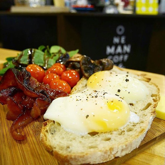 Big brekkie ($15) - eggs, candied bacon, roasted cherry tomatoes, butter mushrooms, baby spinach and a slice of sourdough rye.