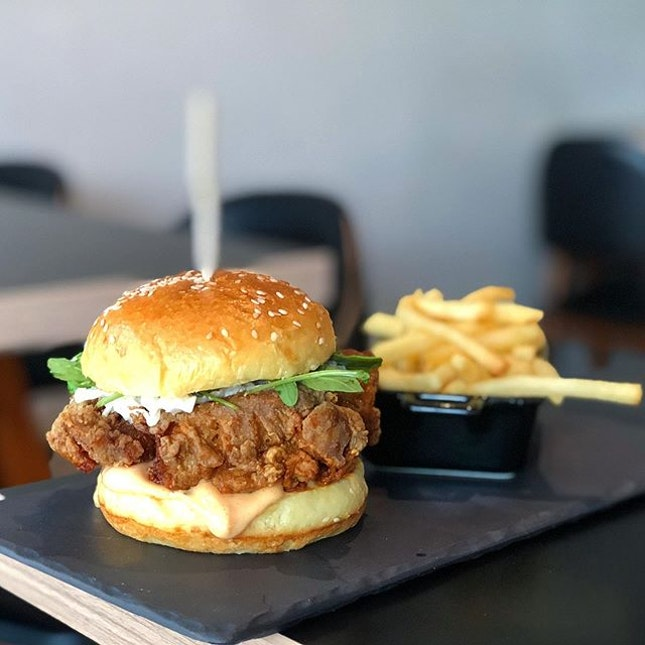 pretty shiok fried curry-spiced chicken burger with add-on truffle fries.
