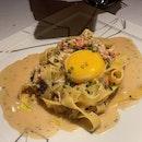 Fresh tagliatelle pasta | confit kampung egg | Alaskan king crab | shaved Perigord black winter truffle  #amayzing_TTDI #burpple