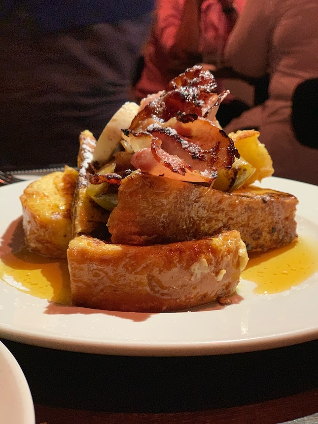 French Toast With Braised Apple, Bacon, Hazel Nut Butter And Syrup