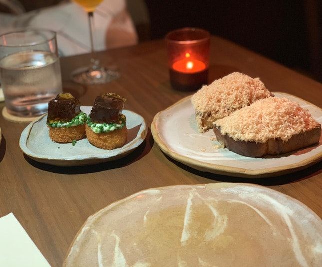 Fired Bread & Smoked Ham Jelly + Foie Gras, Cedar Jelly, Brioche