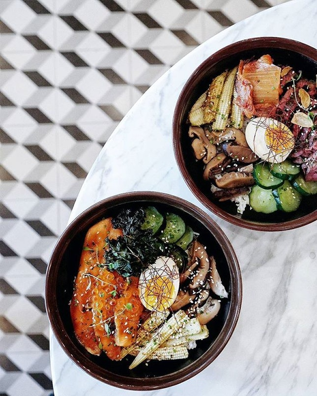 Twinsies rice bowls #onthetable except that one holds the {Hanger Steak} ($18) and the other {Grilled Salmon} ($17) - I much prefer the latter with the salty burst of ikura juxtaposed against crunchy fried kale.