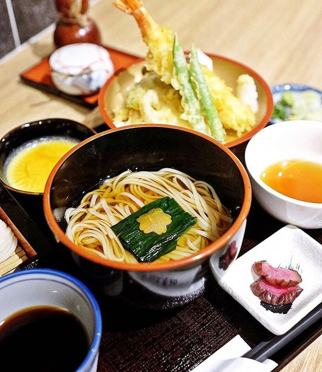 Tempura, Tsuke udon with syoyu and gomatare dipping sauces, kake udon, creme caramel and the whole she-bang.