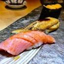 Speechless, a trio of sublime sushi - otoro, unagi and uni :) #sushi #otoro #unagi #uni #ginzayoshihiro #sgfood #sgrestaurant #foodporn #burpple