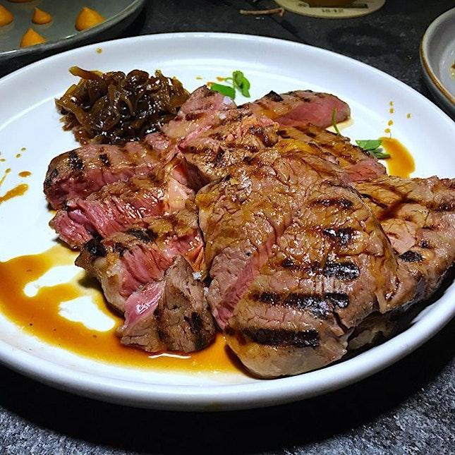 Grilled Angus ribeye at the newly launched @momorizakaya by Chef Martin Wong.