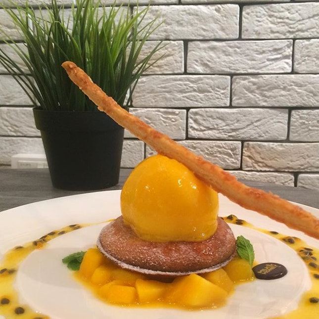 Doughnut Waffles - Mango Cheese (S$6.20) ~ Doughnut waffles with Parmesan Cheese, Mango Compote, Passion fruit Coulis and Passion Fruit Mango Sorbet.