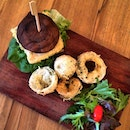 Low carbs alternative (less the flour used for deep frying) portobello mushroom burger with toufu patty!