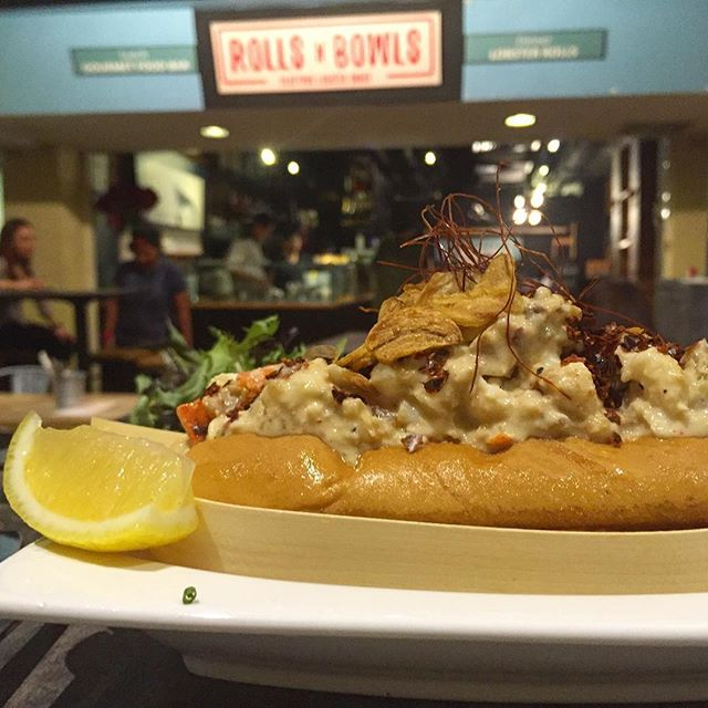 Spicy Roasted Garlic Lobster Roll; Crunchy chunks of lobsters generous drenched with spicy mayo.