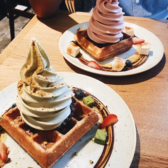 Splendid Waffles With Soft Served Icecream