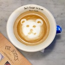 Starting the day with a Beary hot latte [100 baht].