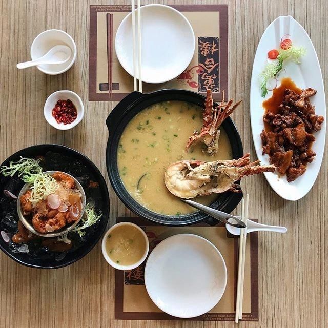 Signature Lobster Porridge (half lobster $31.90, whole $55.00).
