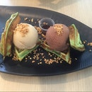 Pandan Waffle w Choco Hazelnut & Salted Caramel Ice Cream