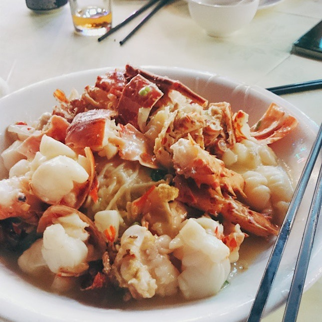 Last night's fleshy fresh lobster with braised ee-fu noodles in superior broth.