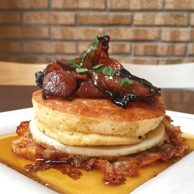 Candied Bacon Pancakes [$9.00]