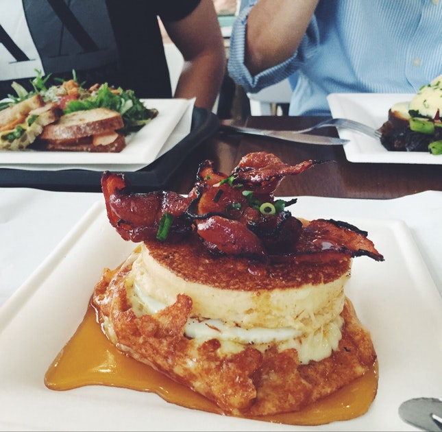 Candied Bacon & Grilled Cheese Pancakes ($9)