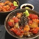 Chirashi Don - $17.90  Sashimi in chunky cubes nicely marinated.